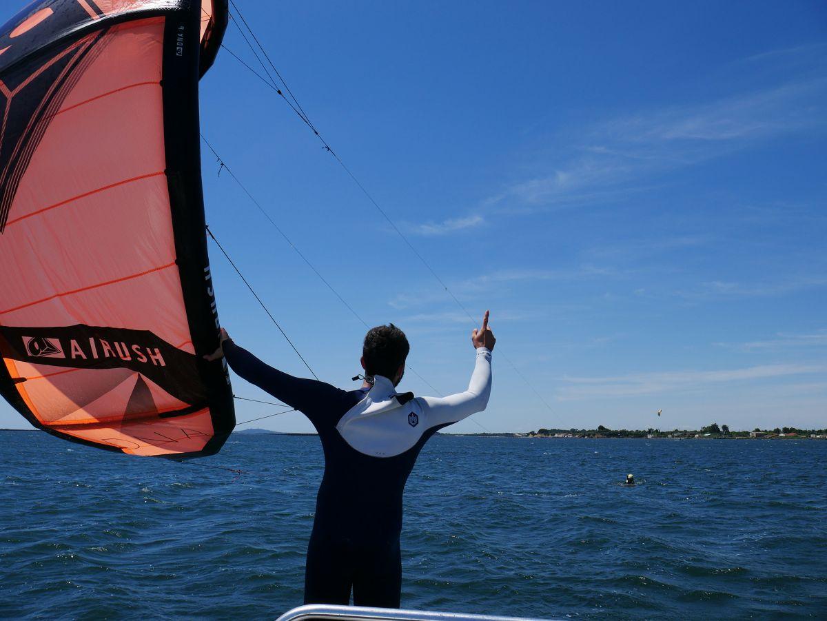 Décollage kitesurf